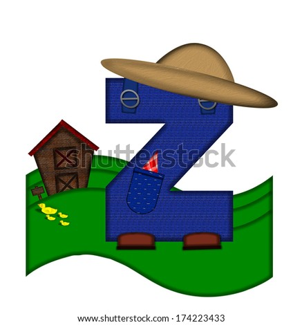 """The letter Z, in the alphabet set """"Down on the Farm,"""" is dressed in denim overalls complete with pockets.  Letter sits on farm scene with rolling hills, barn, and ducks. - stock photo"""