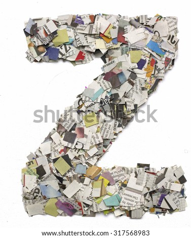 The letter   Z   made from newspaper confetti - stock photo