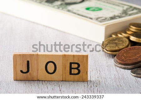 The letters JOB on white wood business concept - stock photo
