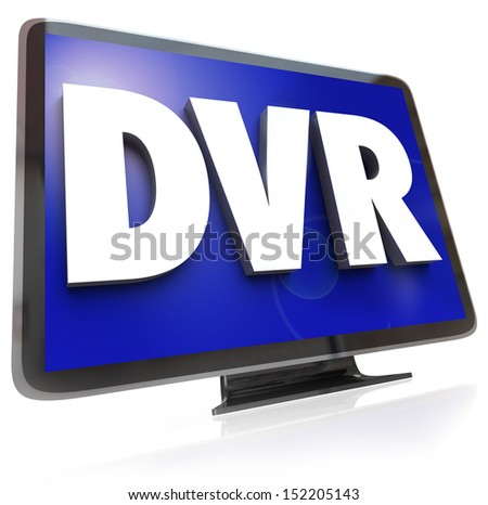 The letters or acronym DVR for digital video recorder allowing you to record and save programs to view when your schedule allows at a time that is convenient - stock photo