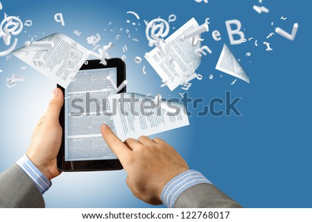 the library in the e-book concept with text pages flying out of a e-reader - stock photo