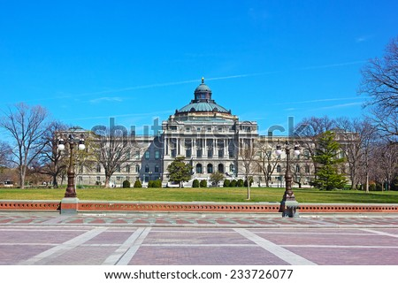 The Library of Congress, Thomas Jefferson Building, Washington DC. The building on a sunny spring afternoon. - stock photo