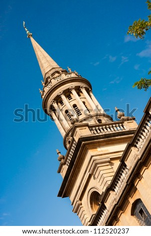 The Library Tower of Lincoln College, Oxford at a Jaunty Angle - stock photo