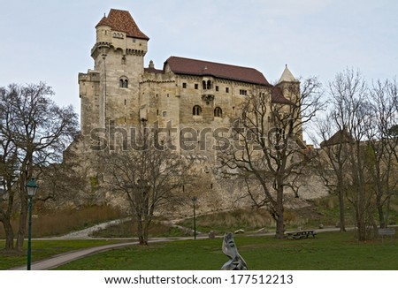 The Liechtenstein Castle is family seat of the Prince of Liechtenstein,  in Lower Austria  - stock photo