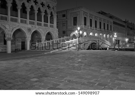 The Light of Venice Long exposure By Night.  - stock photo
