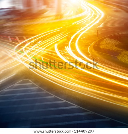 the light trails on the steet in shanghai china - stock photo