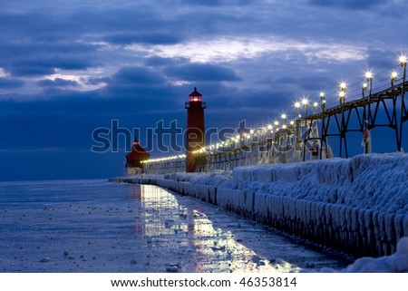 the lighthouse after sunset - stock photo