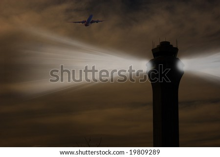 The Lighthouse at the Airport - stock photo