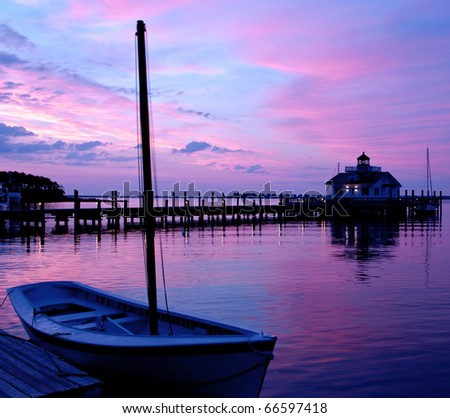 The lighthouse in Manteo, North Carolina on Roanoke Island at Sunrise. - stock photo
