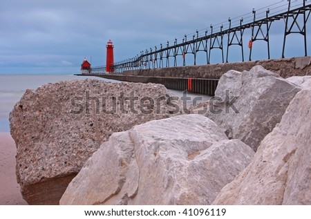 The lighthouses at Grand Haven, MI - stock photo