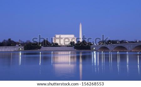 The Lincoln Memorial, Arlington Memorial Bridge and Washington Monument, Washington, DC, the United States - stock photo