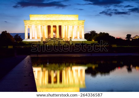The Lincoln Memorial at twilight, Washington DC, United States - stock photo
