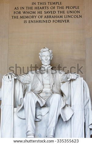 The Lincoln Memorial attraction and lamdmark in Washington DC - stock photo