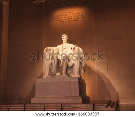 The Lincoln Memorial statue is an American national monument built to honor President Abraham Lincoln, and is located on the National Mall in Washington, DC. - stock photo