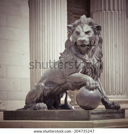 The Lion Statue in Madrid, Spain with retro effect, - stock photo