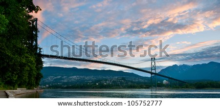 The Lions Gate Bridge in Vancouver, British Columbia. - stock photo