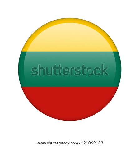 The Lithuanian flag in the form of a glossy icon. - stock photo