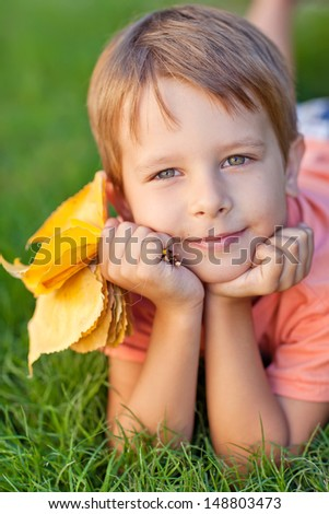 The little boy fall - stock photo