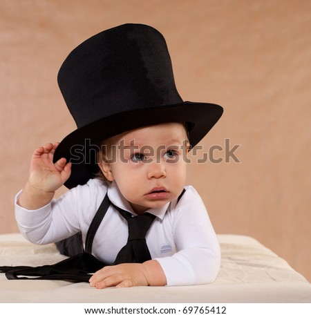 The little boy in a hat - stock photo
