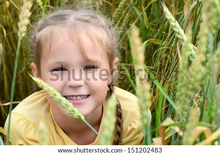 The little girl in a wheaten field - stock photo