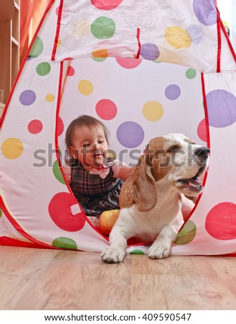 The little girl playing with a dog - stock photo