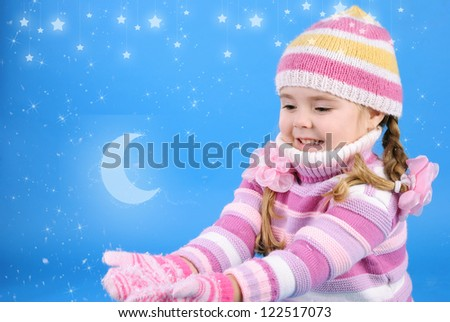 the little girl with the Christmas tree and gifts - stock photo