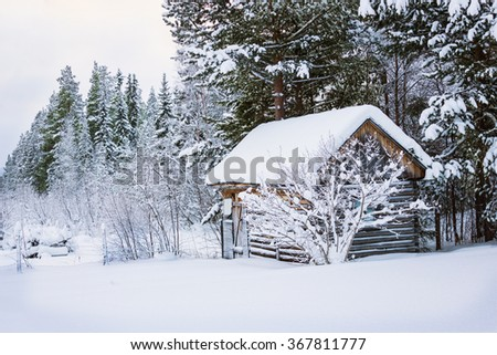 The little hut on the edge of the boreal forest - stock photo
