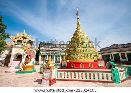 The little pagoda near Shwemawdaw Pagoda was built around 1000 years ago and located in Bago, Myanmar. It is one of the famous Mon pagodas in Bago of Myanmar. - stock photo