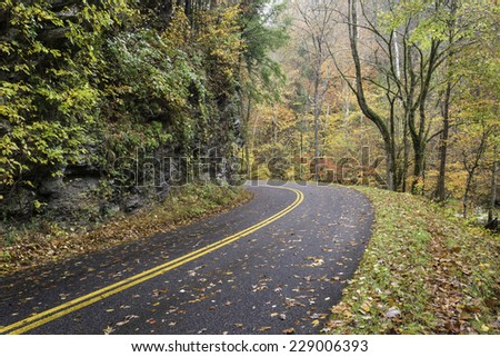 The Little River Road follows the course of the Little River through the Appalachian Mountain terrain of Great Smoky Mountains National Park in Tennessee. - stock photo