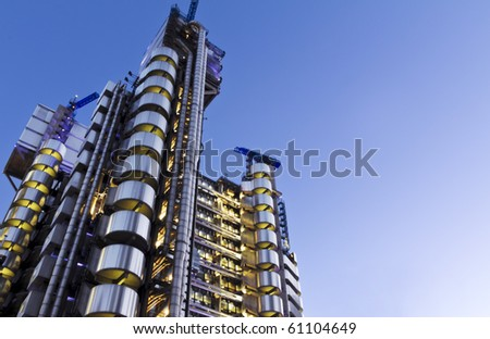 The Lloyd's Building (also known as The Inside-Out Building) with copy space. - stock photo