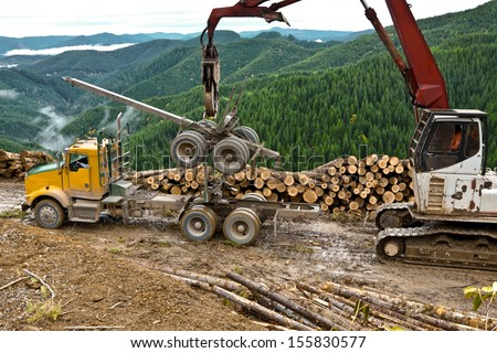The loader is used to lift the log truck trailer from the truck.  - stock photo