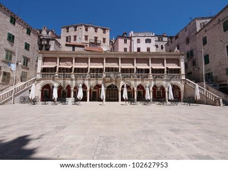 The loggia and palace in Sibenik, Croatia - stock photo