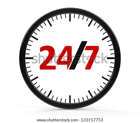 The logo of round-the-clock on white background represents 24 hours service, three-dimensional rendering - stock photo
