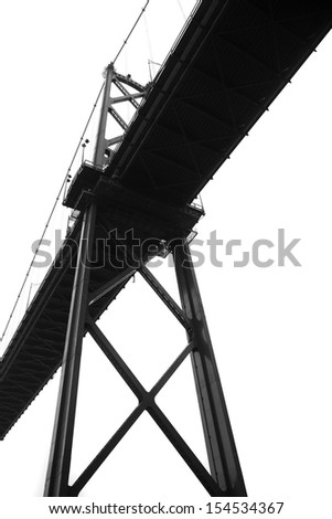 the Loins Gate Bridge structure from underneath - stock photo
