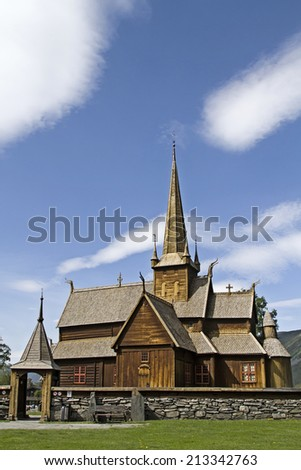 The Lom Stave Church is built  in the 12th century  in the Norwegian province of Oppland - stock photo