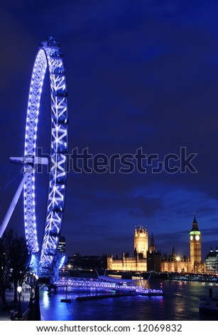 The London Eye, The Parliament, and the Thames landmarks of London - stock photo
