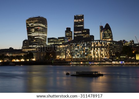The London Skyline at the Riverside area. - stock photo