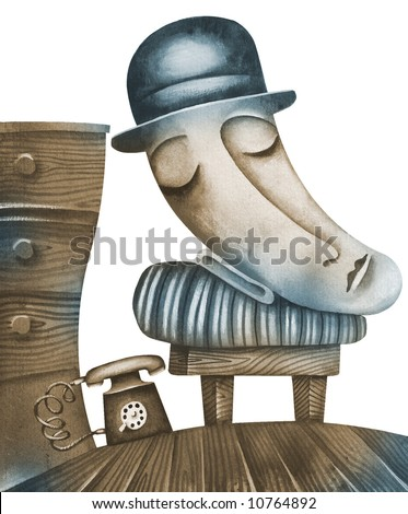 The lonely. Allegory. Illustration by Eugene Ivanov. - stock photo