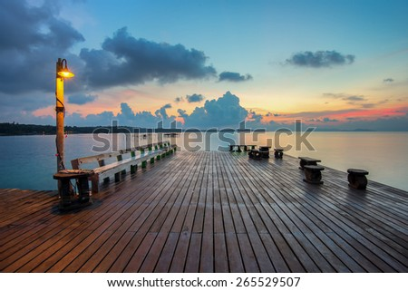 The long boardwalks to the sea - stock photo