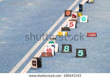 The long jump venue, number of players used, starting his own label mark - stock photo