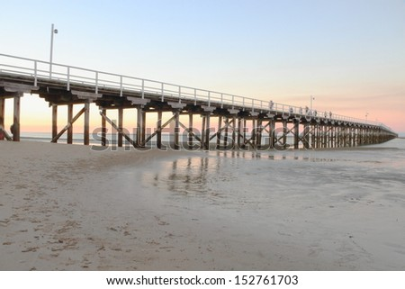 the long pier a tourist attraction in hervey bay queenalnd australia the whale watching capital - stock photo