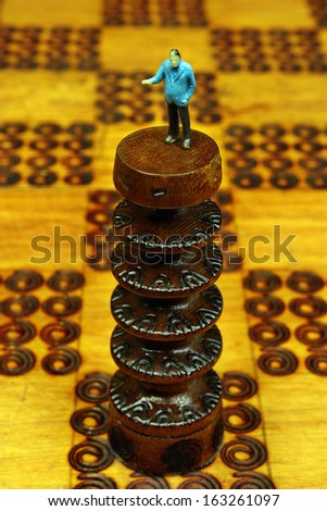 The Lord of the top of the tower in chess - stock photo