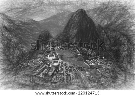 The lost city of Machu Picchu in Peru, rendered as a pencil sketch. - stock photo