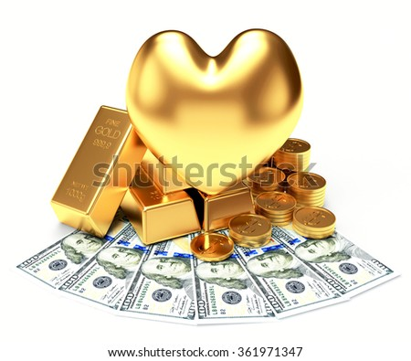 The love of money concept. Golden heart among a heap of bullion, coins and dollar bills isolated on white background - stock photo
