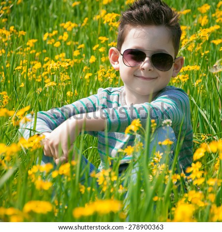 The lovely preschool child has a rest on a flower meadow. He sits on a grass in sunglasses and smile - stock photo