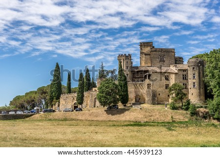 The Luberon village of Lourmarin in Provence - stock photo