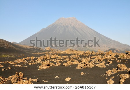 """The lunar-like volcanic landscape found on the island of Fogo, Cabo Verde part of """"Pico do Fogo"""" Volcano National Park - stock photo"""