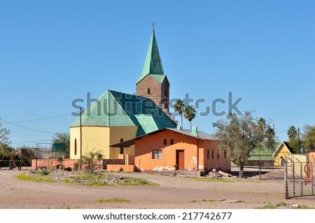 The Lutheran church in the small town of Berseba in Namibia  - stock photo
