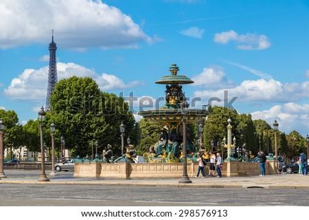 The Luxor Obelisk at the center of the Place de la Concorde in Paris - stock photo