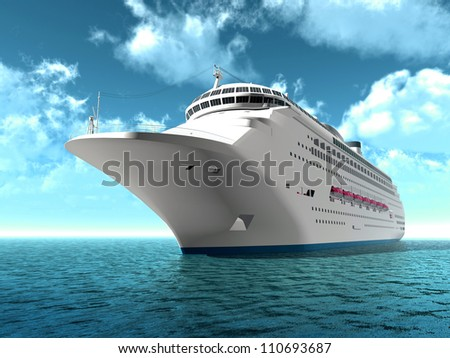 The luxury oceanic cruising liner on blue sea waves - stock photo